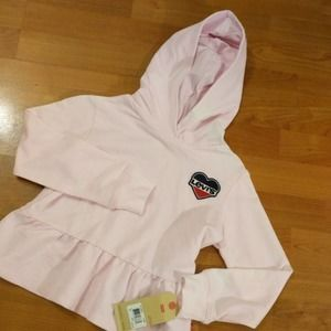 Levis vintage heart hooded girls pink sweater 5T